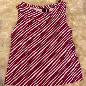 rafaella striped beau neck top sleeveless